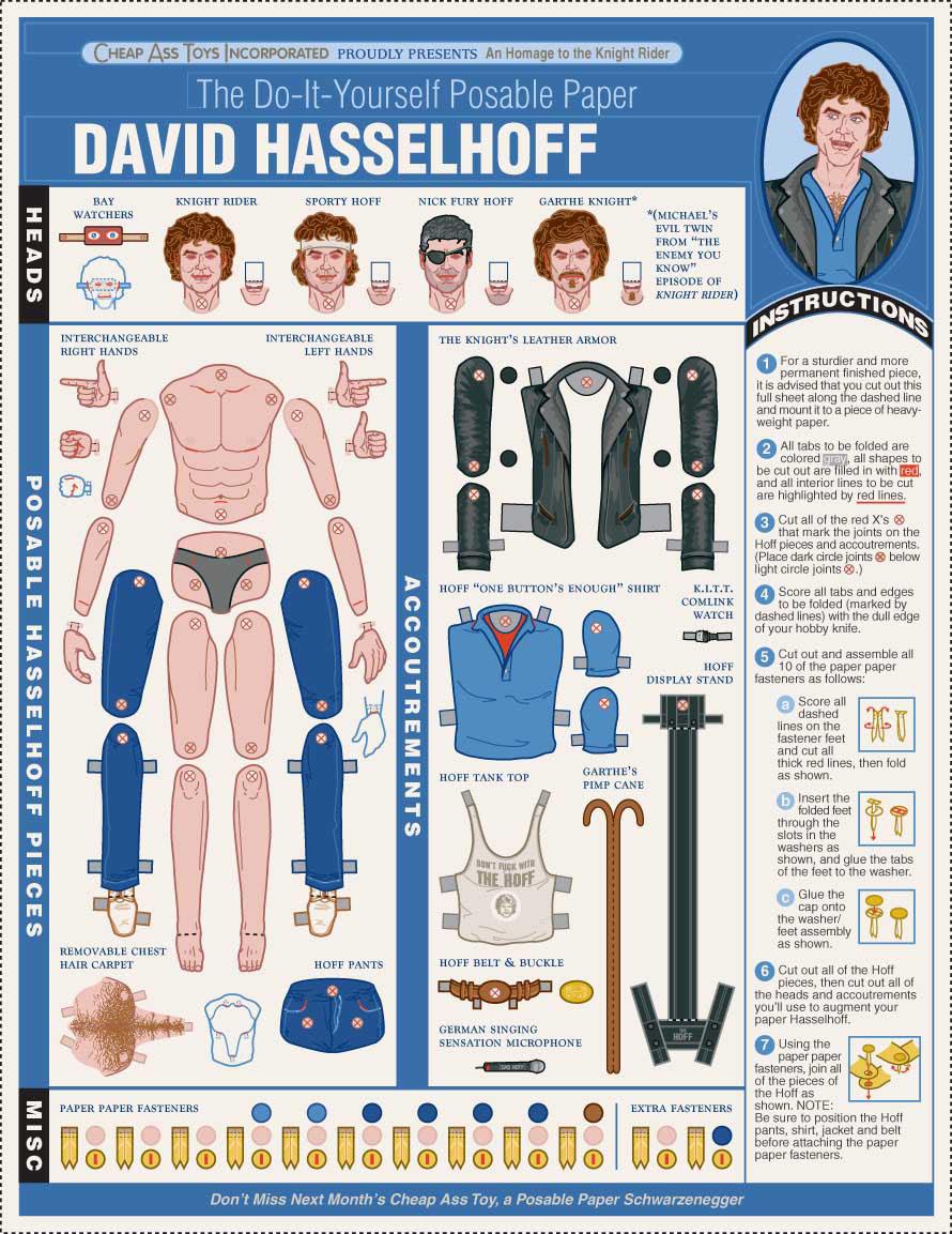 David Hasselhoff Posable Paper