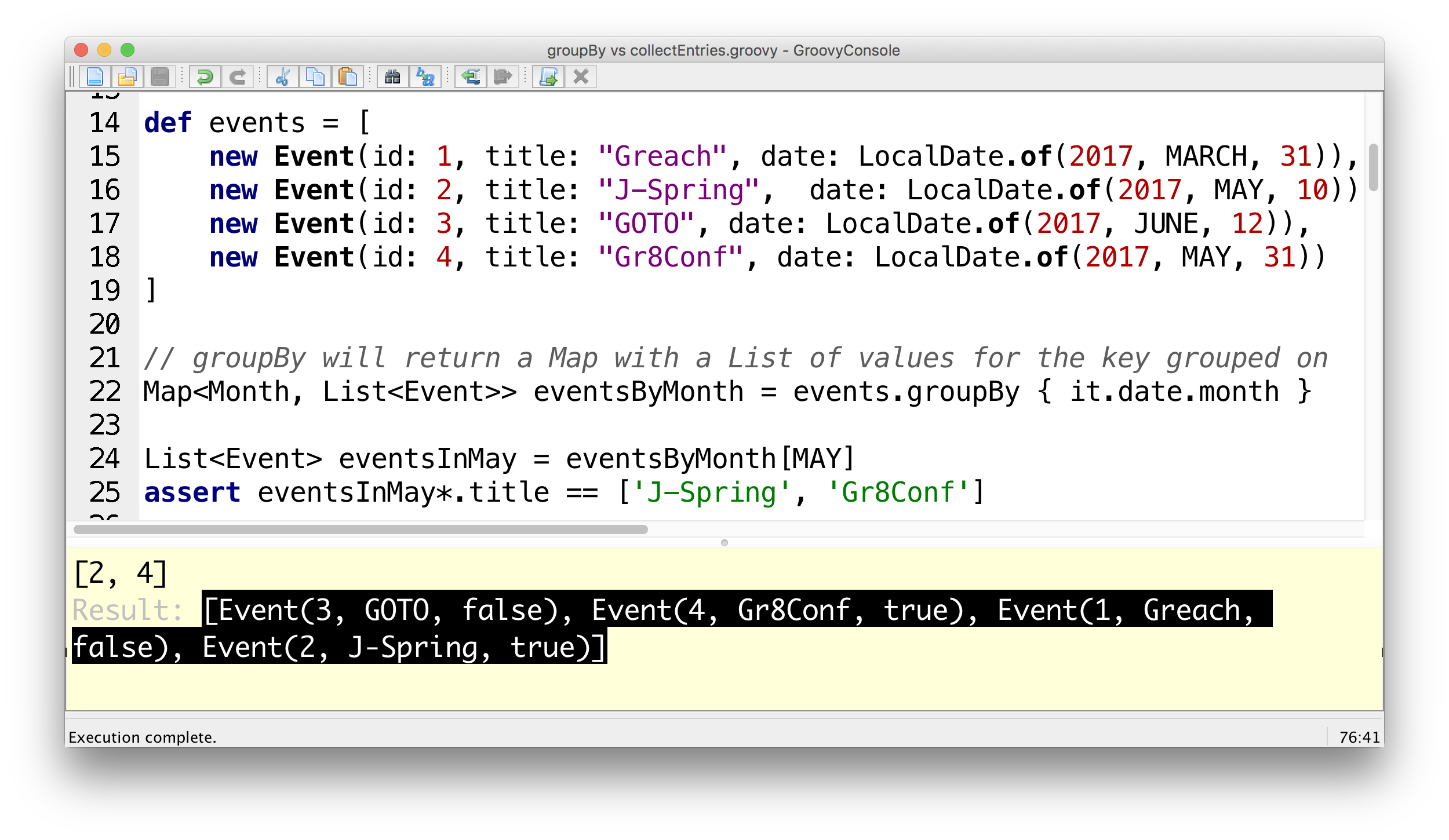 Groovy: Grouping using groupBy vs collectEntries – Ted Vinke's Blog