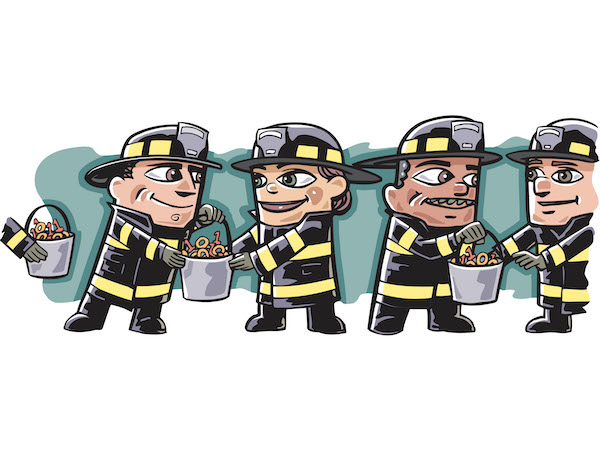 A group of firefighters passing buckets